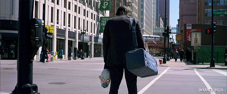 First shot of the Joker character, shown from behind in the 2008 film The Dark Knight.